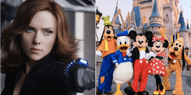 scarlett johansson as black widow (left) and disney characters with cinderella castle (right)