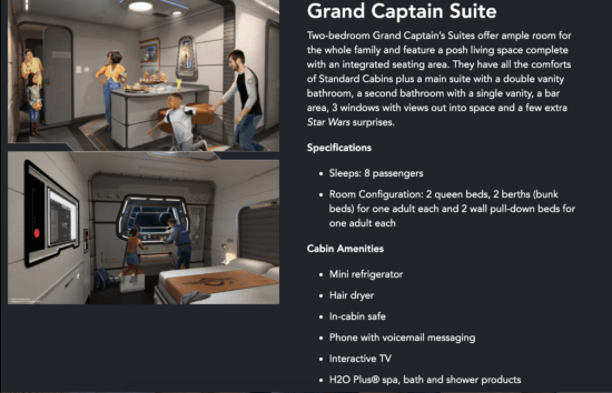 grand captain stateroom details