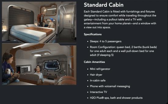 standard cabin stateroom details