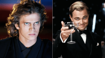 hayden christensen as anakin skywalker (left) and leonardo dicaprio as jay gatsby (right)