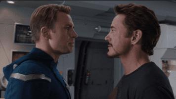 steve rogers (left) and tony stark (right) in the avengers