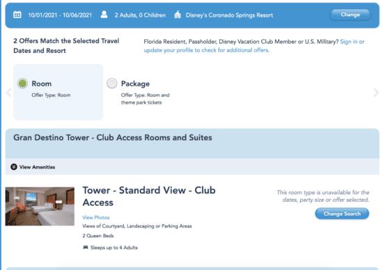 disney world hotel availability