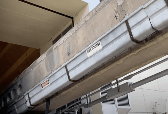 high voltage monorail line closeup