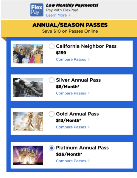 Universal Hollywood Annual Passes