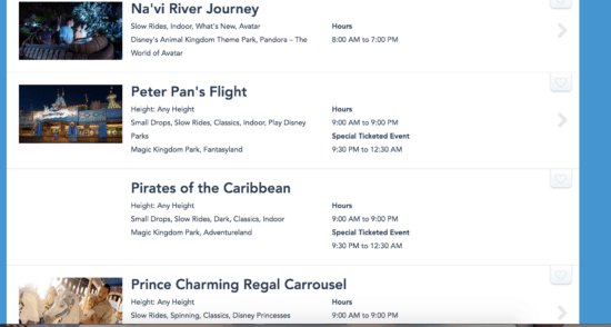 Disney World Attractions Search Results