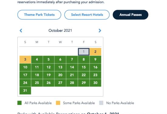 october 1 park pass calendar