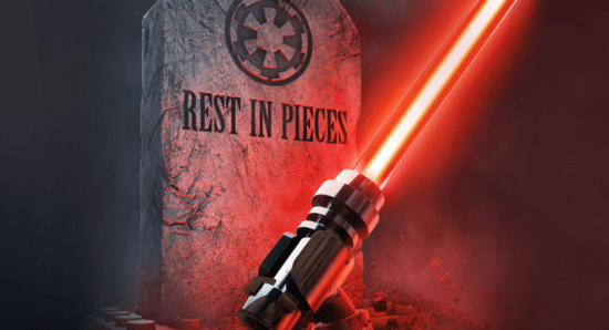 LEGO lightsaber with tombstone saying Rest in Pieces
