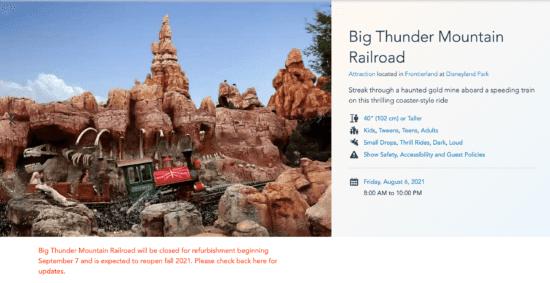 Big Thunder Mountain and closure information