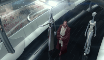 Kaminoans and Obi-Wan Kenobi on Kamino