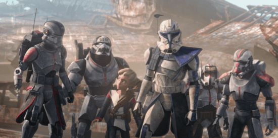 The Bad Batch with Captain Rex and Omega on Bracca