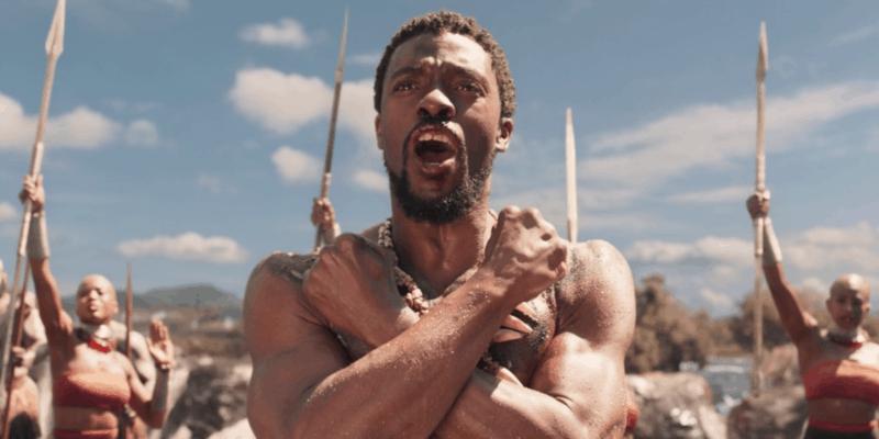 Chadwick Boseman as T'Challa Wakanda forever gesture