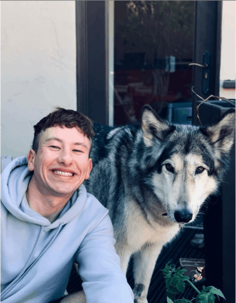 Barry Keoghan with a wolf