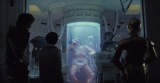 Luke Skywalker in bacta tank with Han Solo, Princess Leia and C-3PO