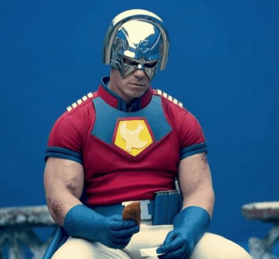 John Cena as Peacemaker in costume