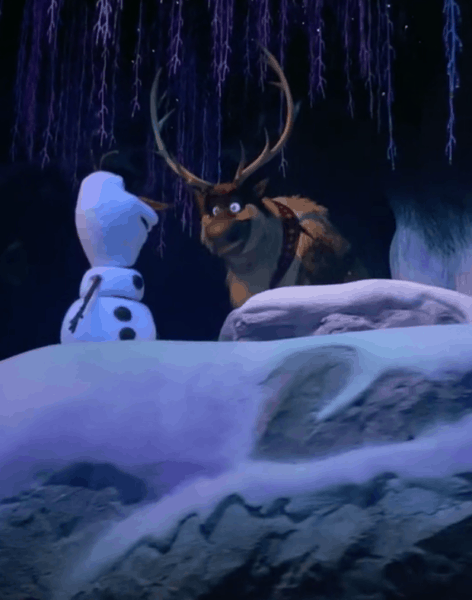 Olaf and Sven looking at each other on Frozen Ever After