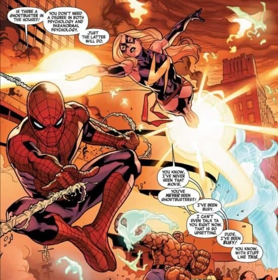 The New Avengers ms marvel carol danvers peter parker spider-man and ben grimm the thing comic