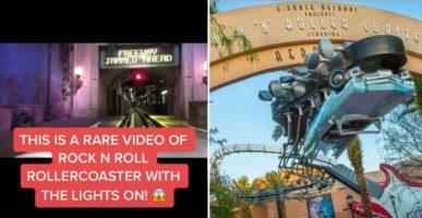 TikTok video of Rock 'n' Rollercoaster (left) / Rock 'n' Rollercoaster outside entrance (right)