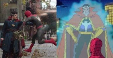 Left: Doctor Strange using magic on Peter Parker / Right: animated Doctor Strange using magic