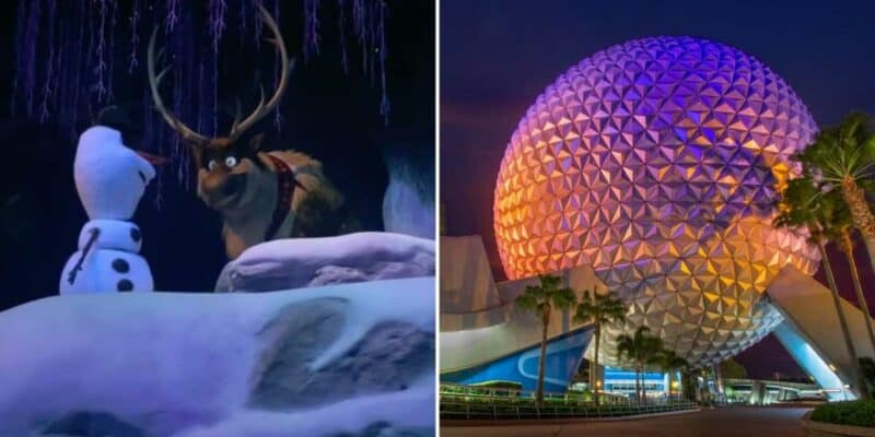 Sven and Olaf at Frozen Ever After (left) / Spaceship Earth at night (right)
