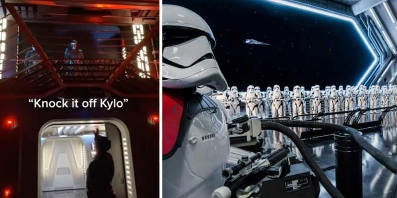 Cast Member talking to Kylo Ren on Rise of the Resistance (left) / Stormtroopers on the ride (right)
