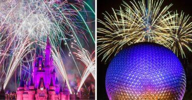 magic kingdom fireworks (left) epcot fireworks (right)