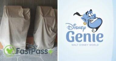 disney fastpass kiosks covered (left) disney genie logo (right)