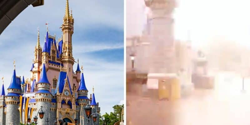 cinderella castle (left) lightning magic kingdom (right)