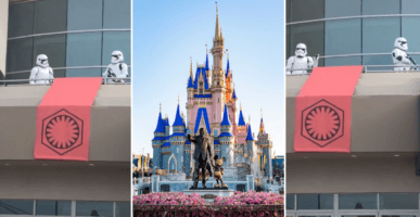 Stormtroopers on a balcony (left and right) Cinderella Castle (middle)