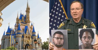 Cinderella Castle (L) Polk County Sheriff holding offender images