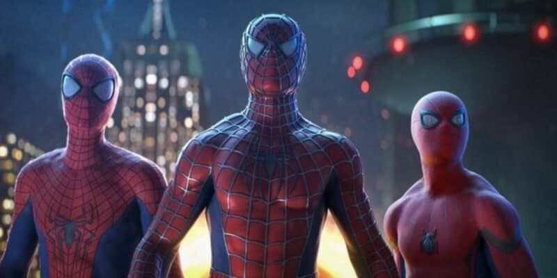 """Tobey Maguire, Andrew Garfield, and Tom Holland in """"Spider-Man: No Way Home"""" (2021)"""