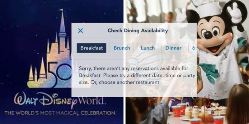 dining reservations disney world 50th