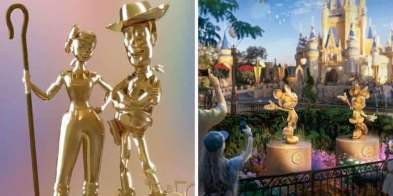 woody and bo peep disney world 50th statues