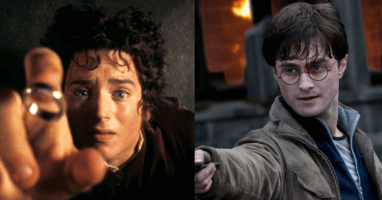 Frodo Baggins (Elijah Wood) left and Harry Potter (Daneil Radcliffe) right