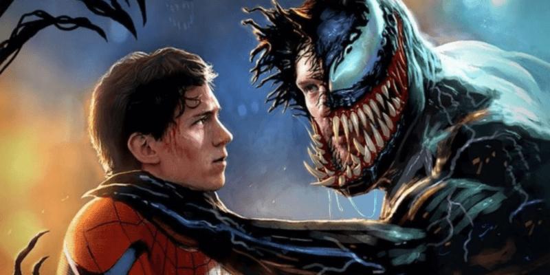 Peter Parker/Spider-Man (Tom Holland) and Eddie Brock/Venom (Tom Hardy) right