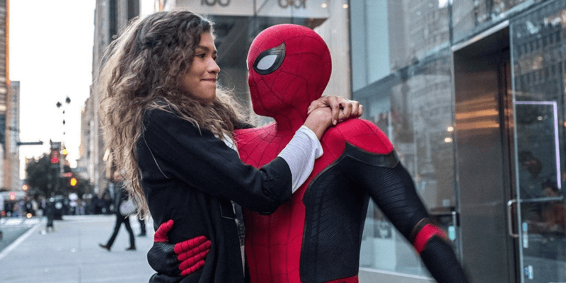 """MJ (Zendaya) left and Spider-Man (Tom Holland) in """"Spider-Man: Far From Home"""" (2019)"""