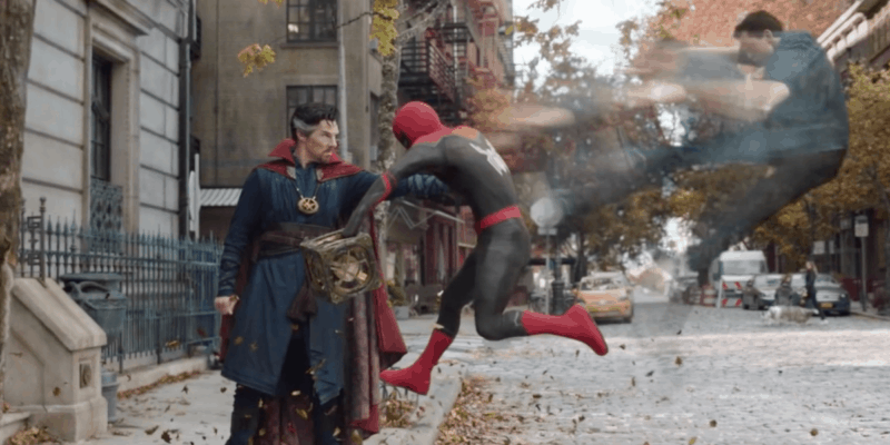 Spider-Man: No Way Home official trailer left: benedict cumberbatch as doctor stephen strange sorcerer supreme and right: tom holland as peter parker aka spiderman marvel multiverse saga