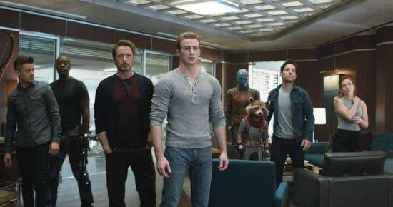 """Don Cheadle, Robert Downey Jr., Bradley Cooper, Chris Evans, Scarlett Johansson, Jeremy Renner, Paul Rudd, and Karen Gillan in """"Avengers: Endgame""""."""