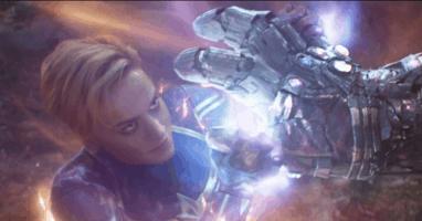 brie larson as carol danvers aka captain marvel against josh brolin thanos in avengers endgame
