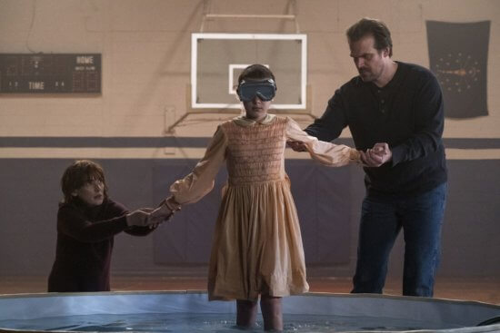 david harbour, winona ryder, and millie bobby brown in stranger things season 1