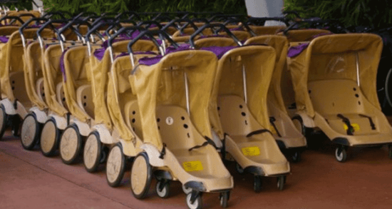 strollers lined up at disney