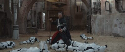 donnie yen as chirrut imwe with stormtroopers