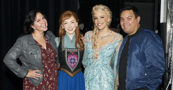 frozen broadway anna and elsa with composers