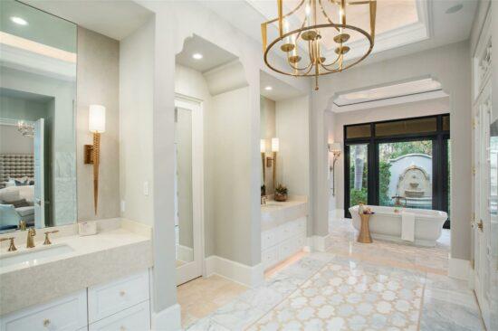 golden oak home master bathroom