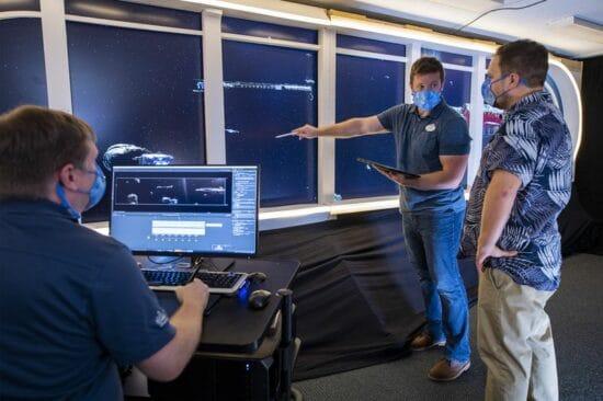 imagineers working on star wars hyperspace lounge screens