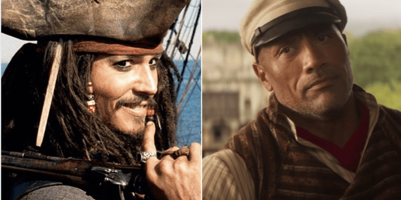 johnny depp as jack sparrow (left) and the rock as frank wolff (right)