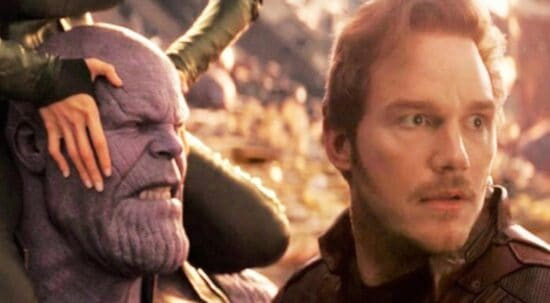 josh brolin as thanos (left) and chris pratt as peter quill star lord (right) in avengers infinity war
