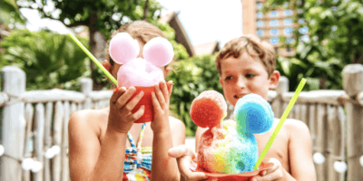 kids with mickey shaved ice at aulani
