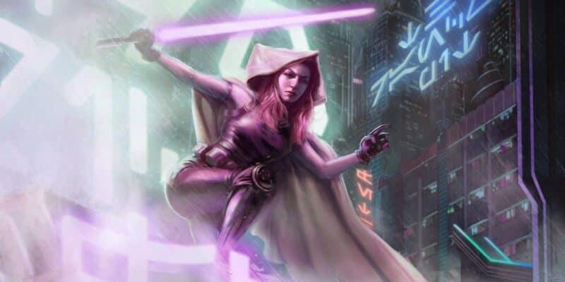 mara jade with purple lightsaber