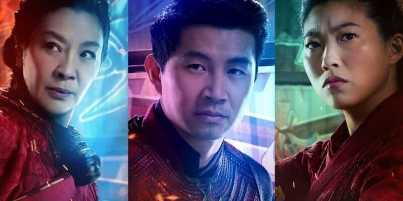 michelle yeoh as Jiang Nan (left) simu liu as shang-chi (center) awkwafina as kt