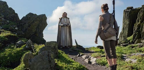 rey and luke skywalker on ahch-to